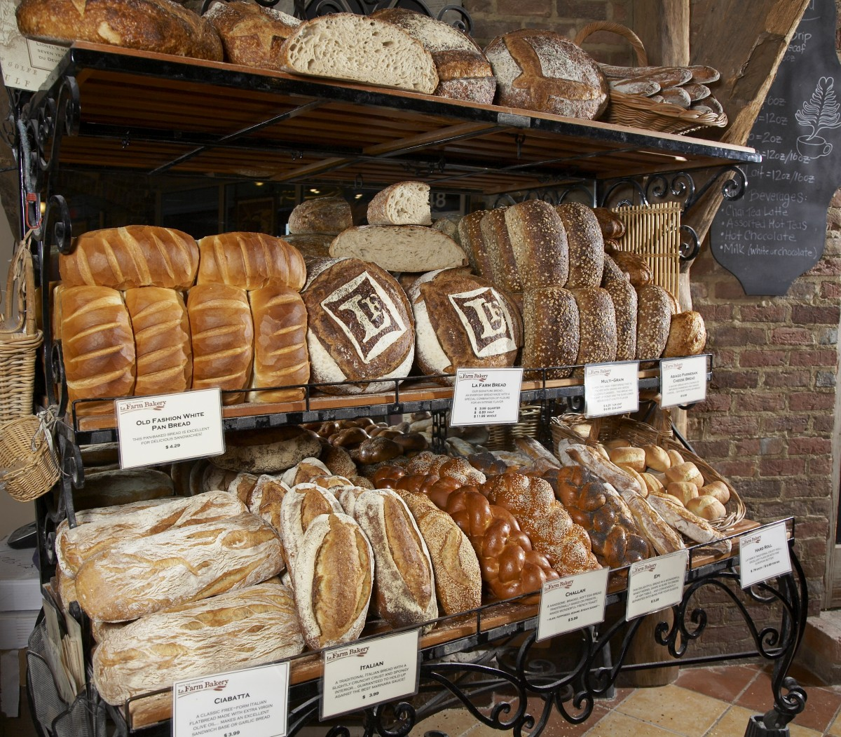Selection Of Bread Available At La Farm Bakery In Cary NC